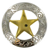 Engraved Star Concho - 1 1/8""